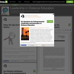 Six Questions for Entrepreneurial Leadership and Innovation in Distance Education | Leadership in Distance Education