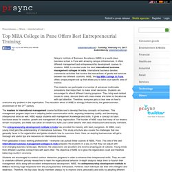 Top MBA College in Pune Offers Best Entrepreneurial Training