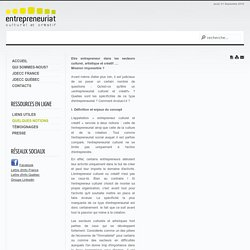 Définition et enjeux de l'entrepreneur culturel/ JDECC