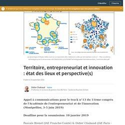 Territoire, entrepreneuriat et innovation : état des lieux et perspective(s)