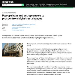Pop-up shops and entrepreneurs to prosper from high street changes - Announcements