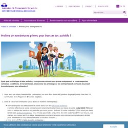 Subsides pour entrepreneurs - Aides & subsides - Bruxelles Economie et Emploi