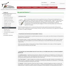 Maroc Entrepreneurs: Financement - Kit de l'entrepreneur