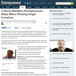 Five Worst Mistakes Entrepreneurs Make When Pitching Angel Investors