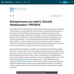 Entrepreneurs are India's 'Growth Ambassadors': PM Modi