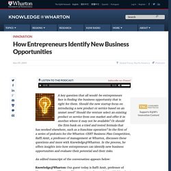 How Entrepreneurs Identify New Business Opportunities - Knowledg