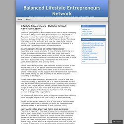 Lifestyle Entrepreneurs – Statistics for Next Generation Leaders « Balanced Lifestyle Entrepreneurs Network