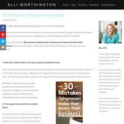 30 Mistakes Entrepreneurs Make — Alli Worthington