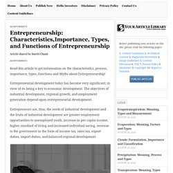 Entrepreneurship: Characteristics,Importance, Types, and Functions of Entrepreneurship