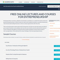 Entrepreneurship | Video Courses on Academic Earth