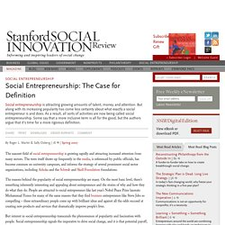 Social Entrepreneurship: The Case for Definition