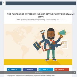 What are the objectives of entrepreneurship development programme?
