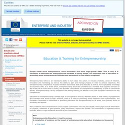 Education & Training for Entrepreneurship - Small and medium sized enterprises (SME) - Enterprise and Industry