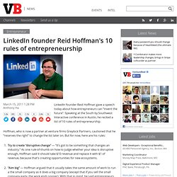 LinkedIn founder Reid Hoffman's 10 rules of entrepreneurship