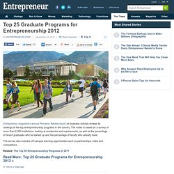 Top 25 Graduate Programs for Entrepreneurship 2012