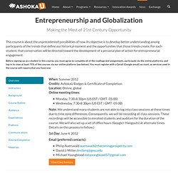 Entrepreneurship and Globalization | AshokaU