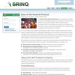 Base of the Pyramid Protocol | Social entrepreneurship, strategy, and green innovations