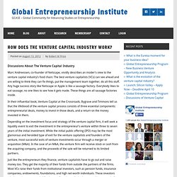 How does the venture capital industry work? « Global Entrepreneurship Institute