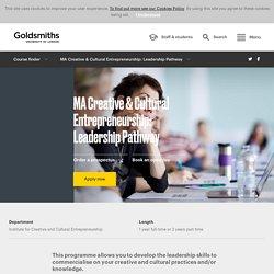 MA Creative & Cultural Entrepreneurship: Leadership