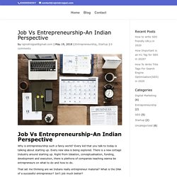 Job Vs Entrepreneurship-An Indian Perspective