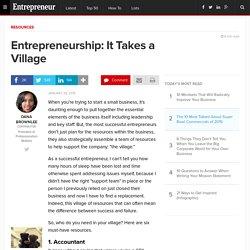 Entrepreneurship: It Takes a Village
