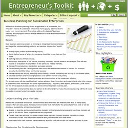Business Planning for Sustainable Enterprises - www.entrepreneurstoolkit.org