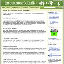 Develop your business through networking - www.entrepreneurstoolkit.org