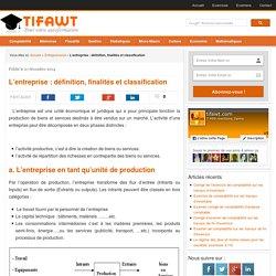 L'entreprise : définition, finalités et classification
