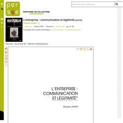 L'entreprise : communication et légitimité