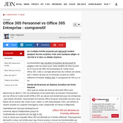 Office 365 Personnel vs Office 365 Entreprise : comparatif