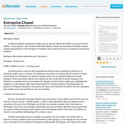 Entreprise Chanel - Documents Gratuits - dissertation