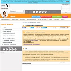 Les étapes de la création d'entreprise - AFE, Agence France Entrepreneur
