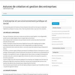 L'entreprise et son environnement juridique et social