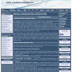 Entreprise fonctionnaire décret 20 janvier 2011 - aide creation entreprise