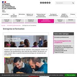 Entreprise et formation - Ministère du Travail, de l'Emploi et de l'Insertion