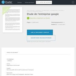 Etude de l'entreprise google - Compte Rendu - Pouet29