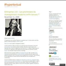 Entreprise 2.0 : Les promesses du management moderne enfin tenue
