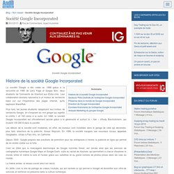 Entreprise Google Incorporated : Chiffre d'affaires et résultats de l'action Google