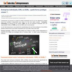 FORME JURIDIQUE: Entreprise individuelle, EIRL, EURL ?
