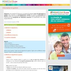 La gestion de l'entreprise, Soutien scolaire, Cours Information et gestion, Maxicours