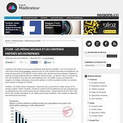 Etude : les médias sociaux et les contenus préférés des entreprises