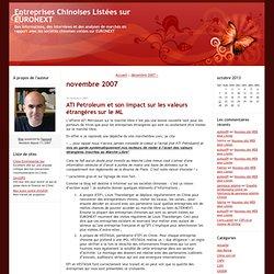 Entreprises Chinoises Listées sur EURONEXT: novembre 2007