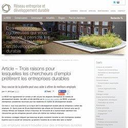 Article - Trois raisons pour lesquelles les chercheurs d'emploi préfèrent les entreprises durables