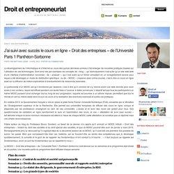 J'ai suivi avec succès le cours en ligne «Droit des entreprises» de l'Université Paris 1 Panthéon-Sorbonne
