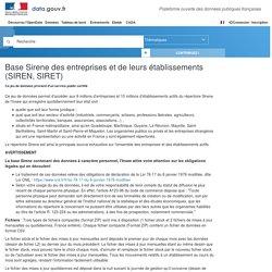 Base Sirene des entreprises et de leurs établissements (SIREN, SIRET) - Data.gouv.fr