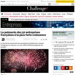 Le palmarès des 50 entreprises françaises à la plus forte croissance