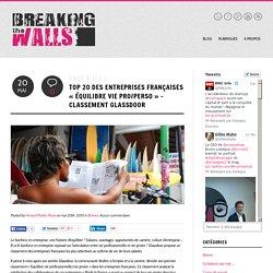 """Top 20 des entreprises françaises """"Équilibre vie Pro/Perso"""" - GlassdoorBreaking the walls"""