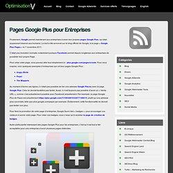 Pages Google Plus pour Entreprises