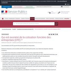 Qui est exonéré de la cotisation foncière des entreprises (CFE)? - professionnels