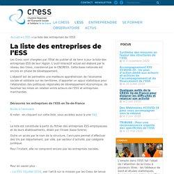 La liste des entreprises de l'ESS - CRESS IDF - Chambre Régionale de l'Économie Sociale et Solidaire Ile-de-France